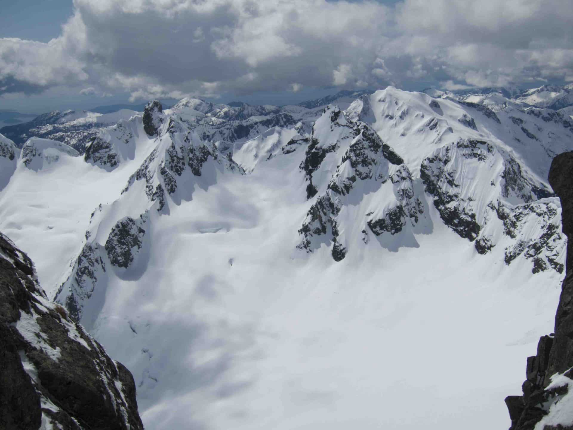 Backcountry skiing in Tantalus Range
