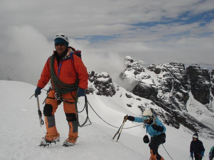 Climbing Mount Illimani, in Cordillera Real