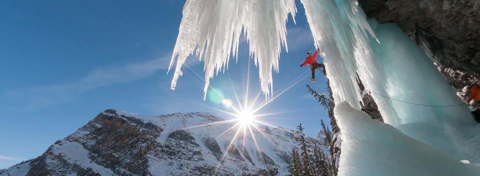 Will Gadd Climbing Louise Falls, Banff National Park (c) Kennan Harvey