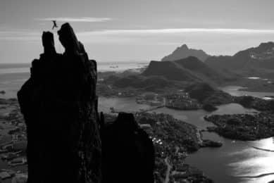 Rock climbing the Goat Lofoten