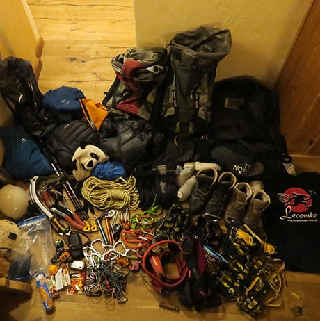 Technical gear ready for climbing