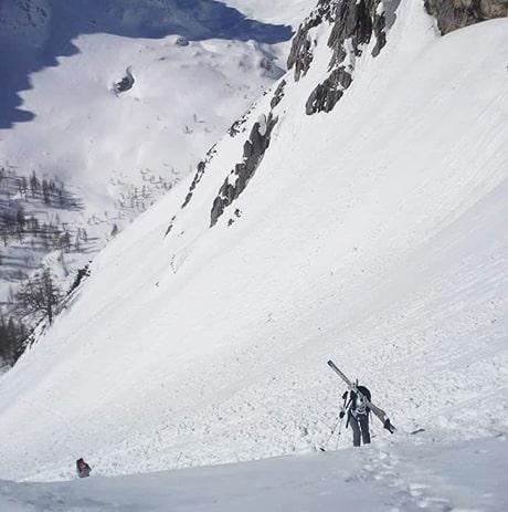 Montee a ski vers le Mont Triglav