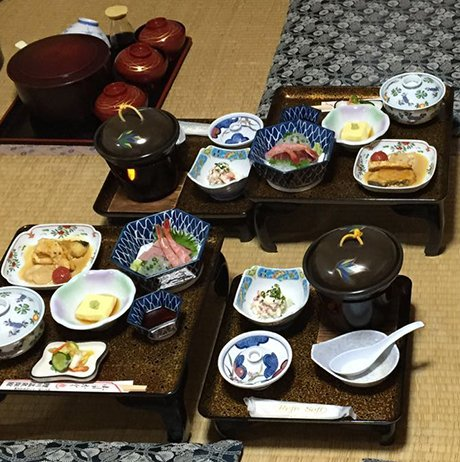 Trditional Japanese food in the Ryokan