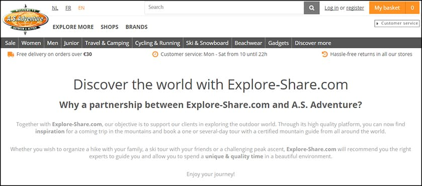 Explore-Share partnerships - AS Adventure