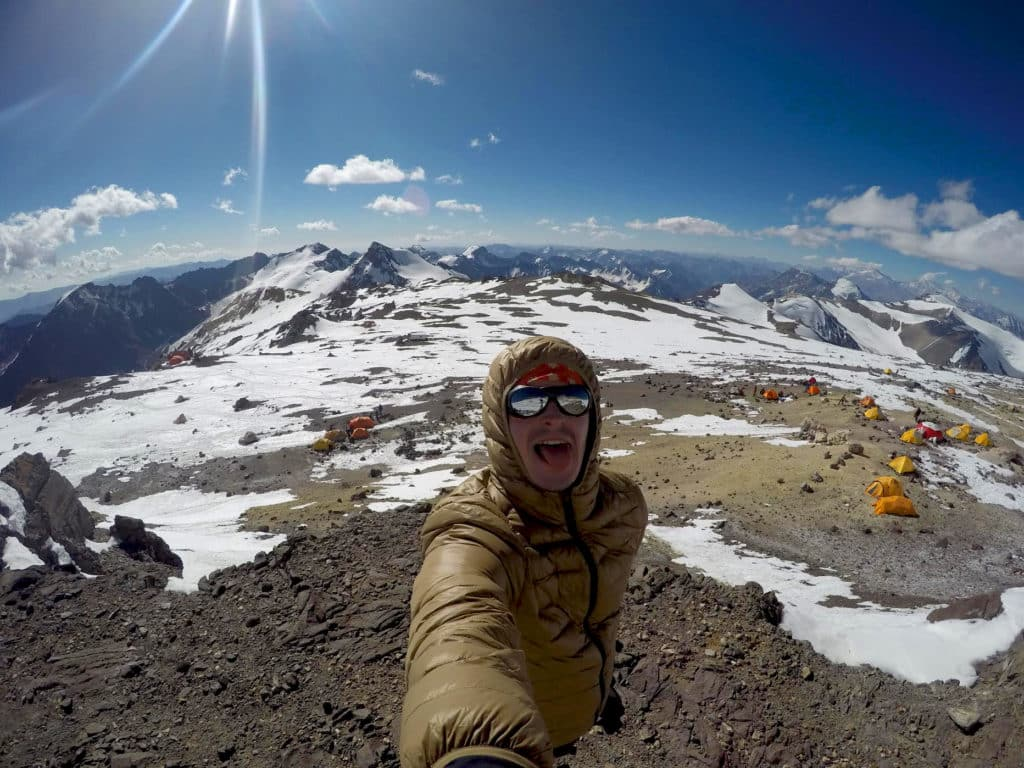 Oleksii on route to Aconcagua summit
