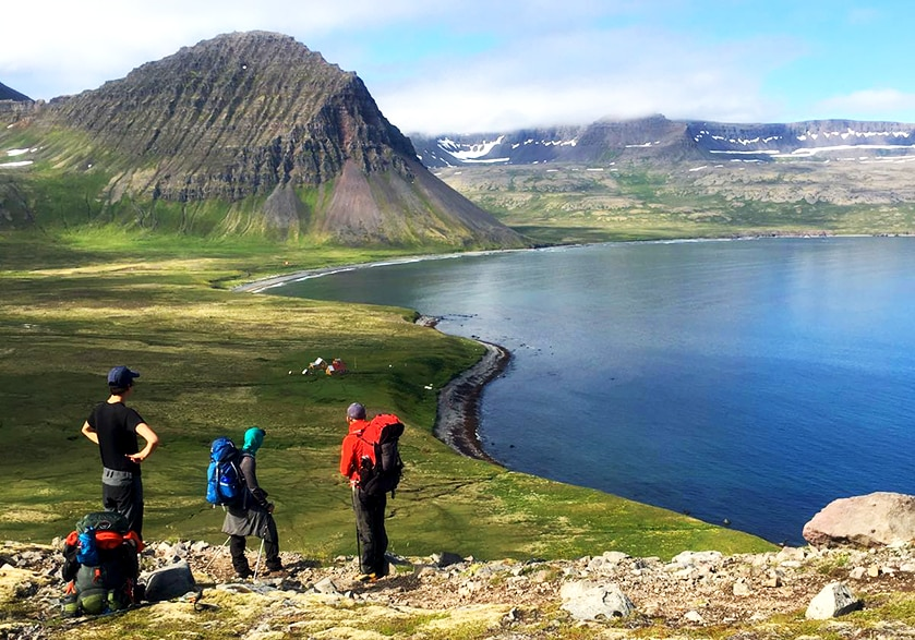 Philippe and his friends hiking in Hörnstrandir, Iceland, with Bjartur