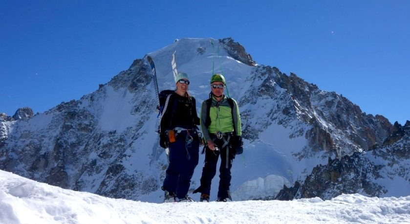 Ski touring in Mont Blanc range with Julia