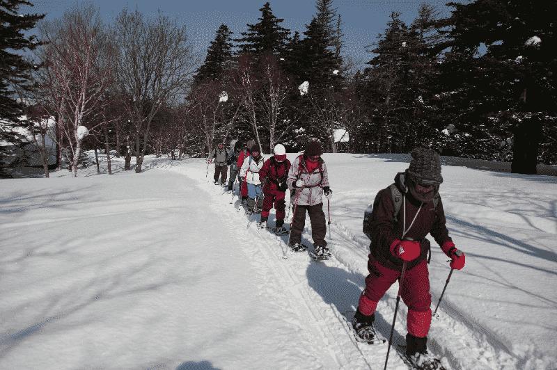 Snowshoe trekking in Rishiri, Hokkaido
