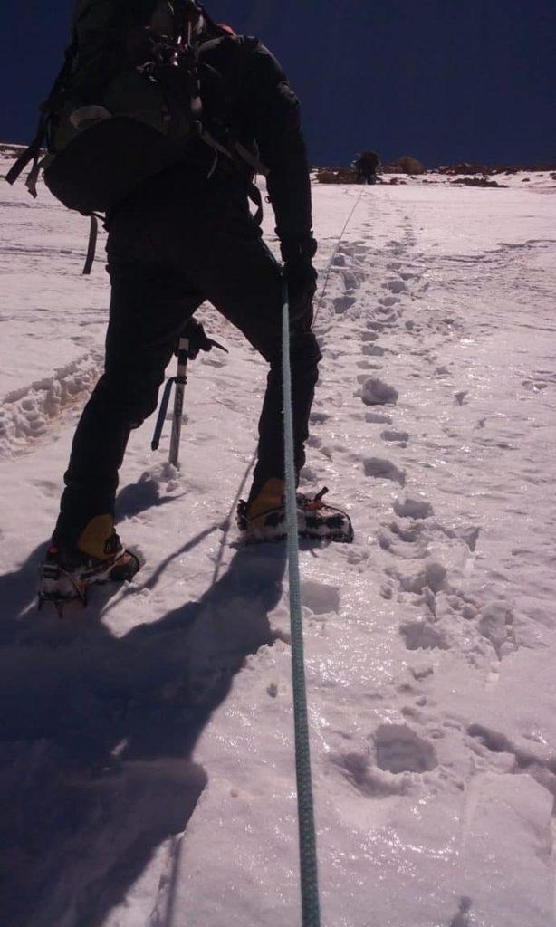 Steep slopes on summit day