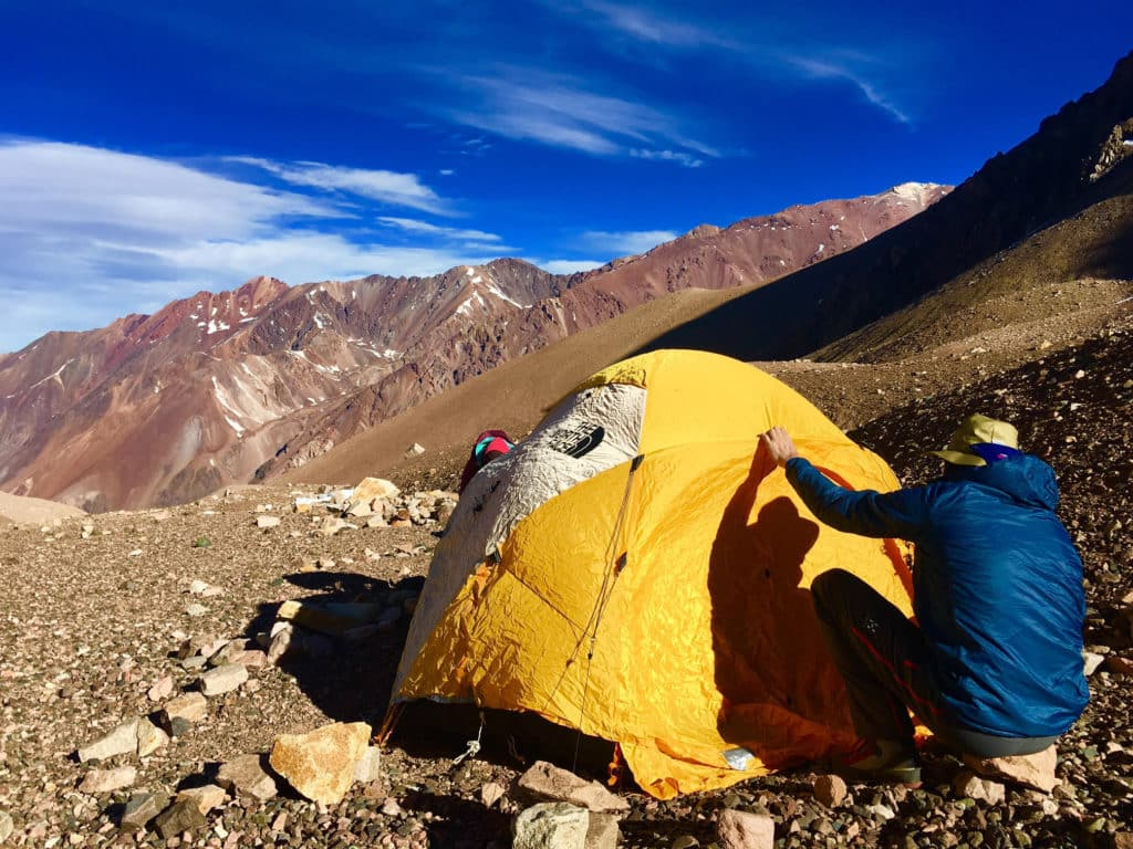 Veit and Wenny putting up the tent at BC