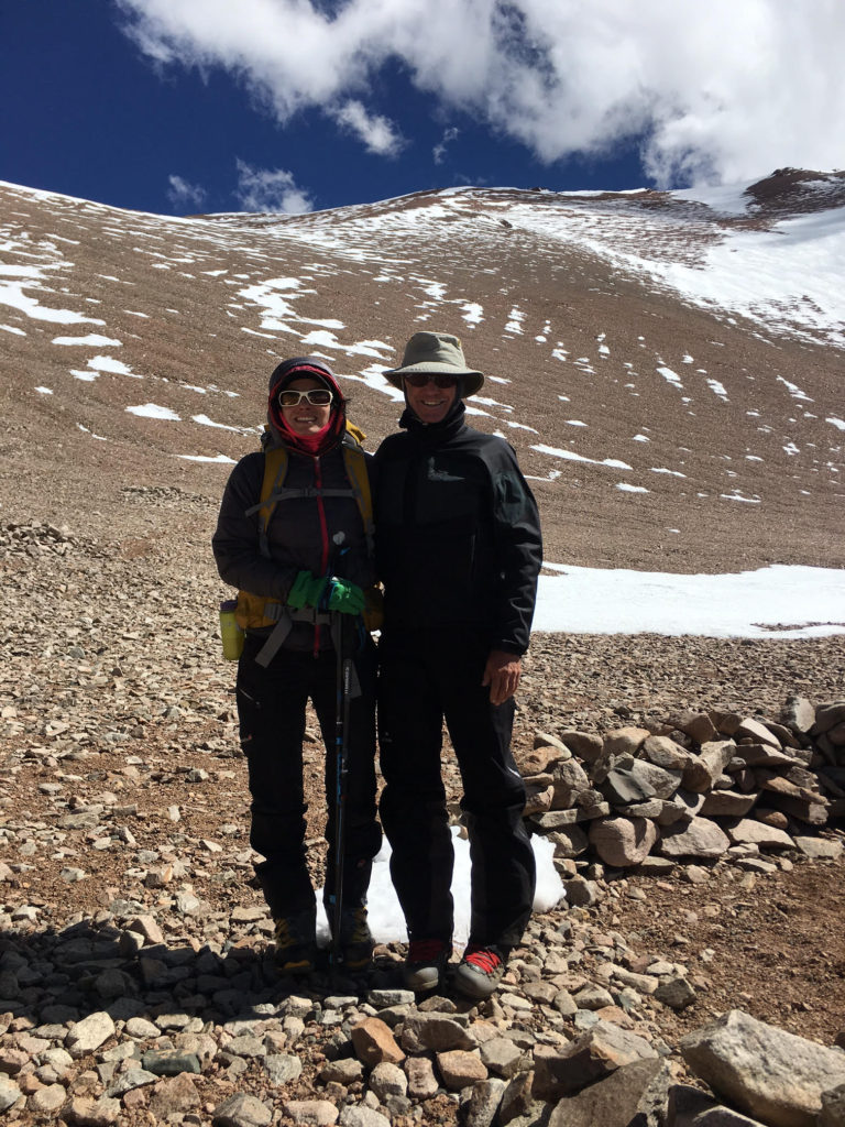 With Weny at Pirca de Indios high camp, looking south (Mercedario behind the mountain)