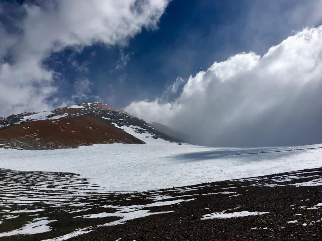 View from La Ollada high camp towards the south - Mercedario's main summit all the way in the back, partially covered by clouds