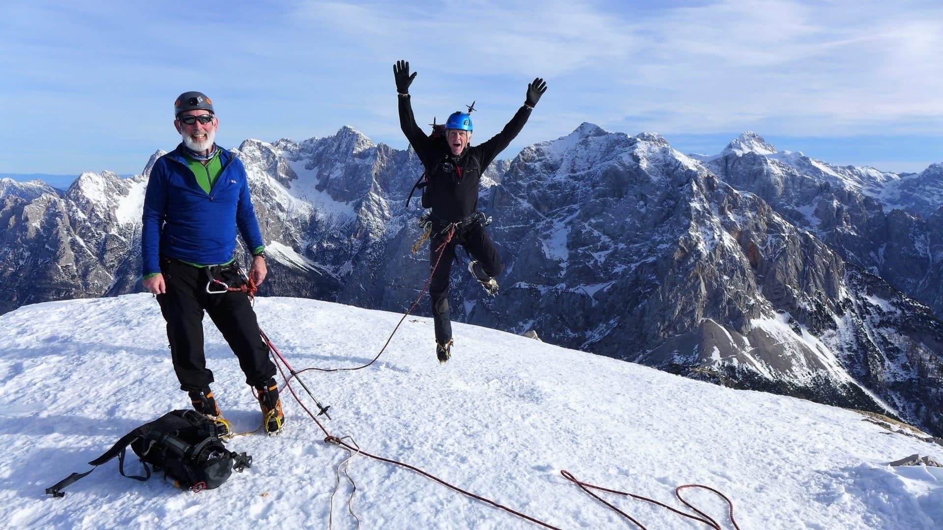 Winter alpine climbing course in Slovenia
