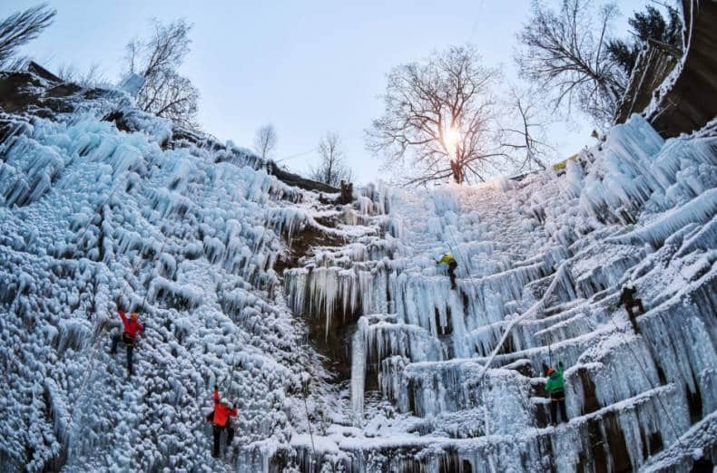 Ice climbing course in the Elbe Valley, Czech Republic