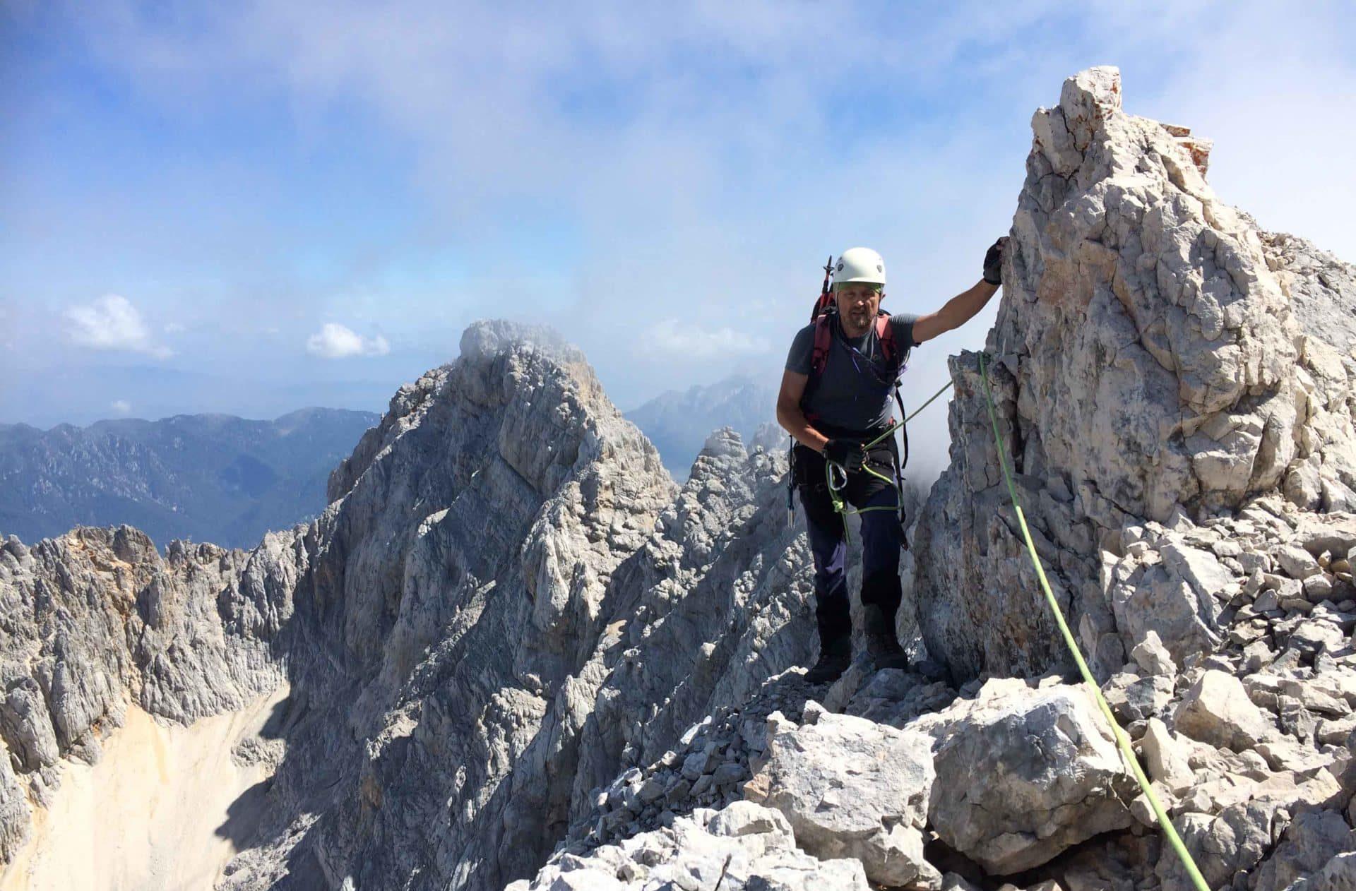 Climbing traverse in the Kamnik-Savinja Alps