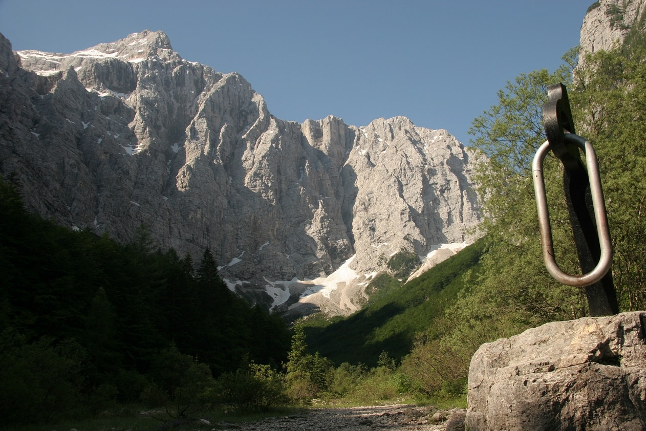 Long German climbing route on Triglav north face