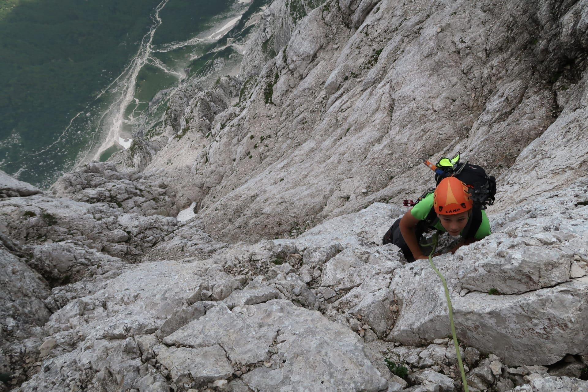 Climbing Triglav north face: short German route