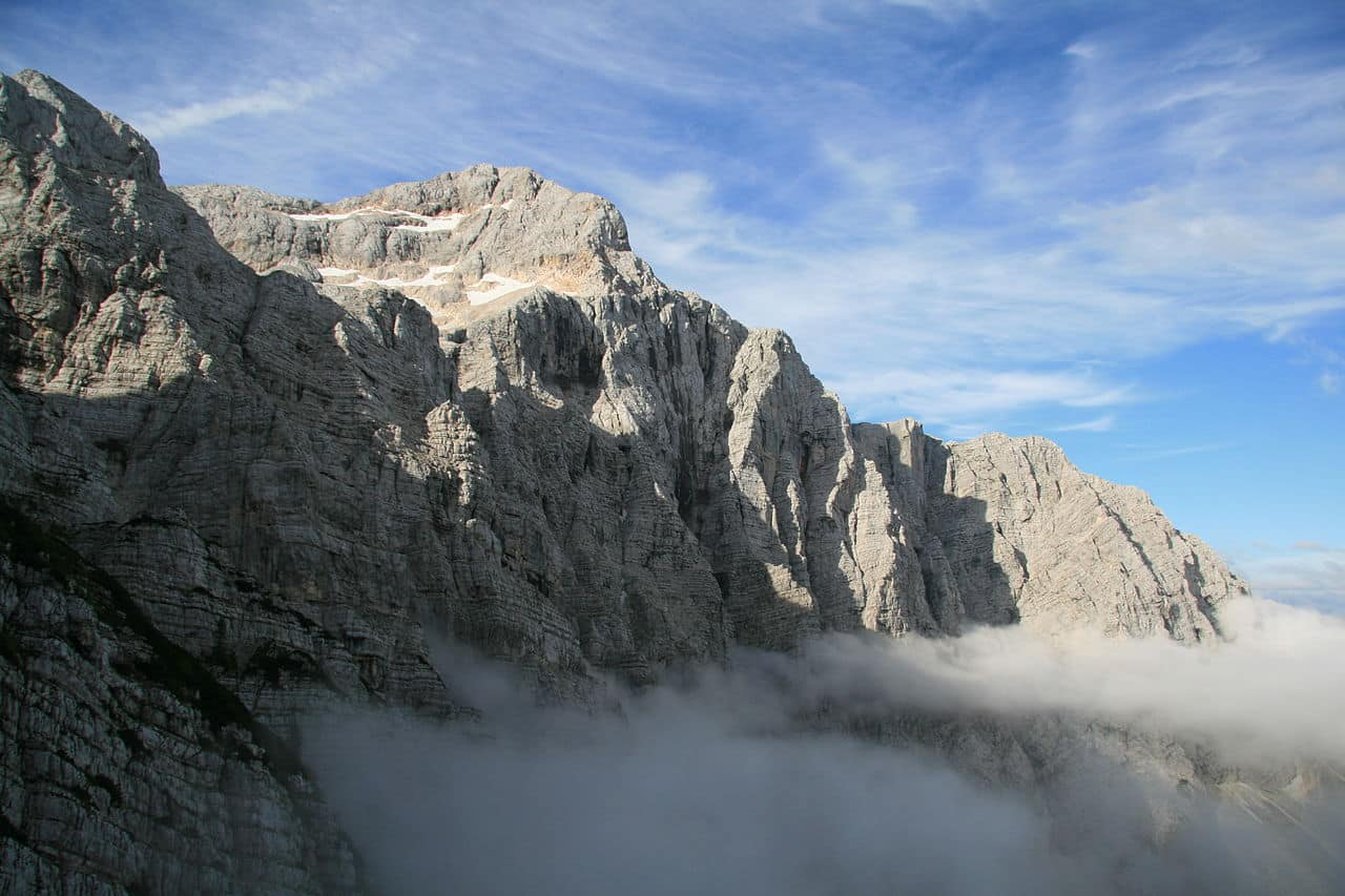Climbing the Slovenian route on Triglav north face