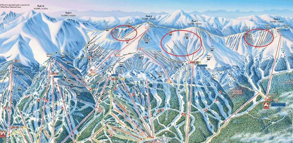 Карта склонов курорта Брекенридж в Колорадо.