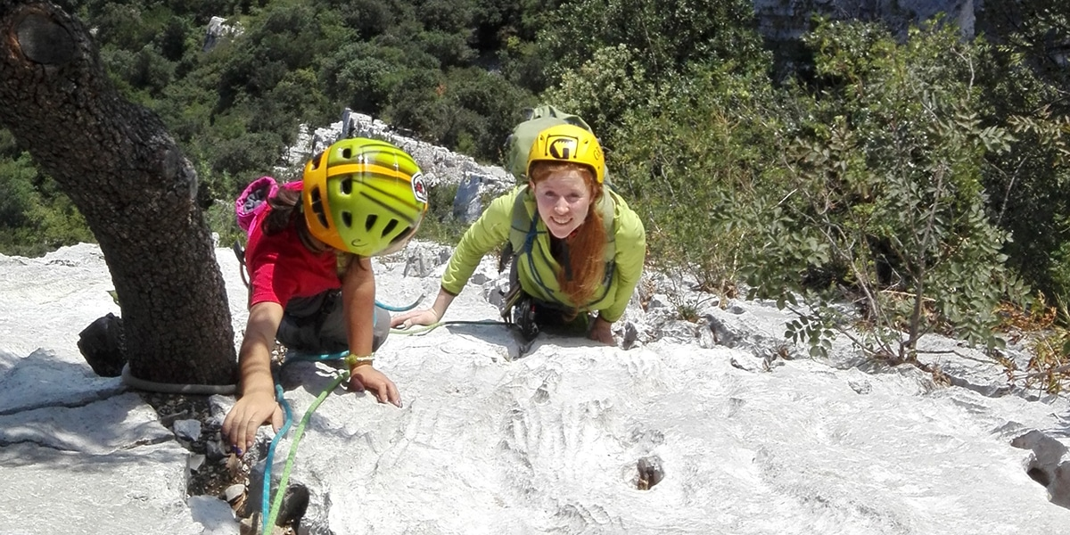 Easy rock climbing for women in Sarca Valley