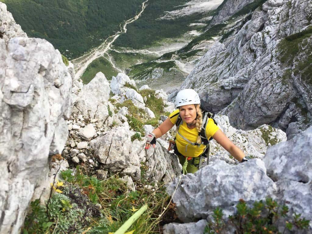 Rock climbing in Mt Triglav