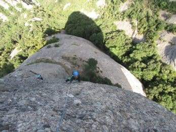 Multi-pitch climbing in Montserrat, Catalonia