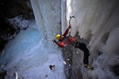 Types of climbing: ice climbing