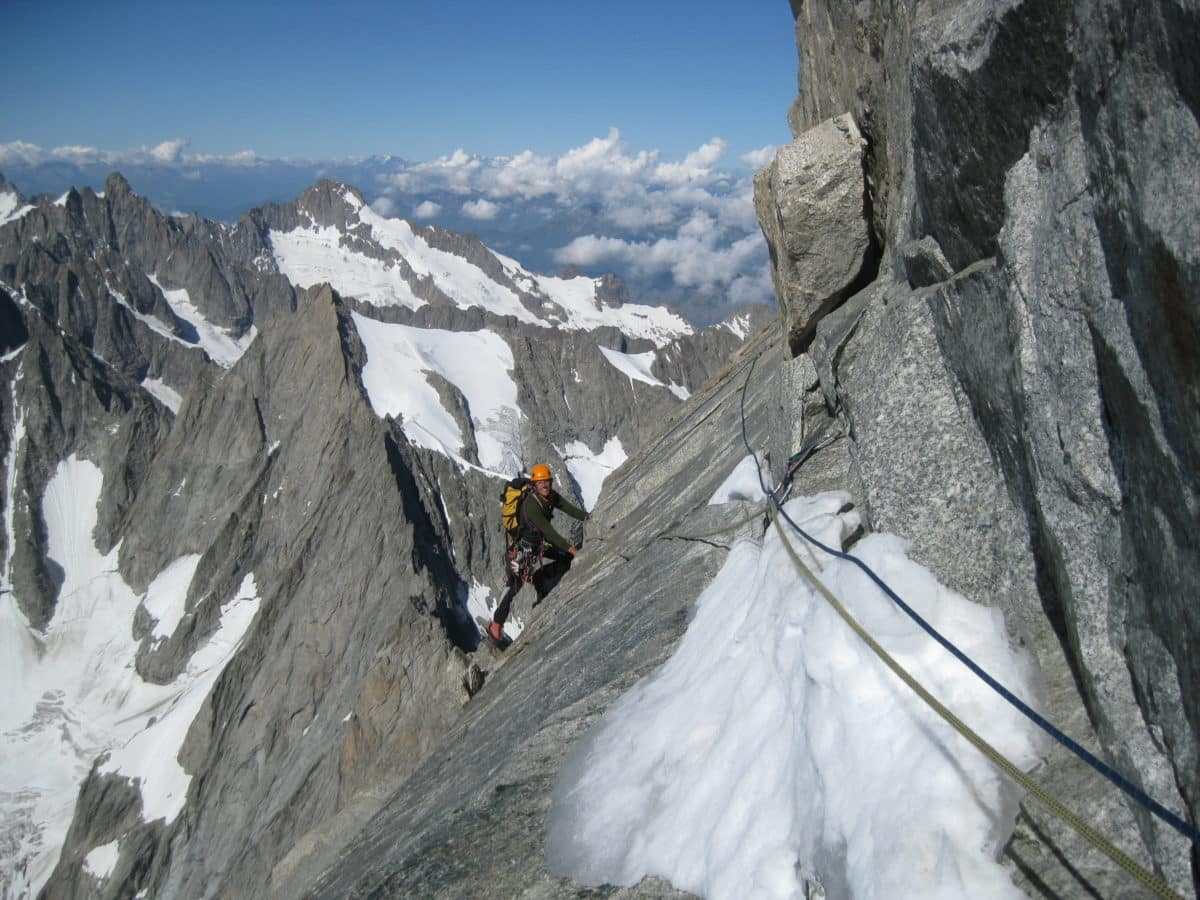 North Face climbing of Grandes Jorasses