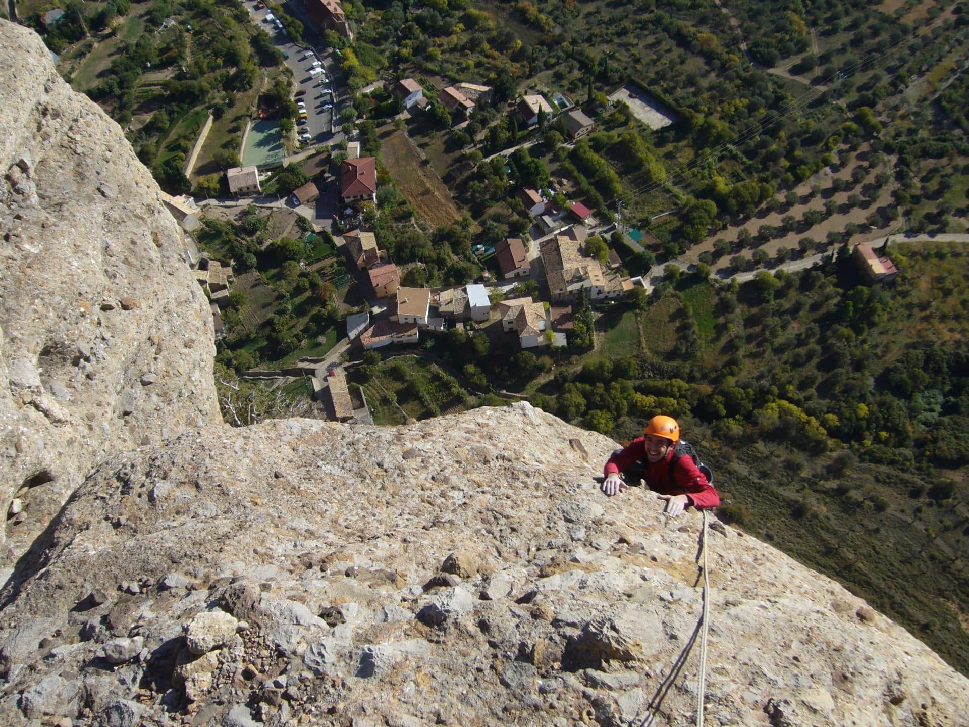 Catalonia multi-pitch rock climbing initiation course